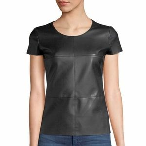 NWT Bailey 44 faux leather front top . M